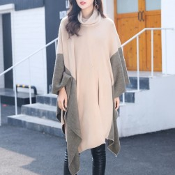 Ukawaiiエレガント上品ファッション配色切り替えケープ