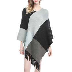 Ukawaiiオシャレコーデファッション配色切り替えセーターケープ