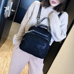 Ukawaii最新韓国風ファッション無地スパンコールファスナーリュックサック