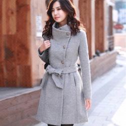 Ukawaii売れ筋ファッションスタンドネック無地長袖切り替えミニ丈秋冬シングルブレストコート