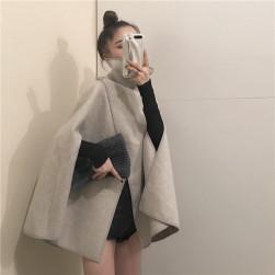 Ukawaiiフェミニンファッション 着痩せスリットラシャポンチョ