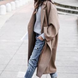 Ukawaiiファッションレディースアウター折り襟チェスターコート