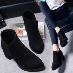 Ukawaii大好評ジッパーファッションシンプルショート丈ブーツ