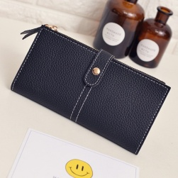 Ukawaii定番シンプル無地切り替え手持ち財布