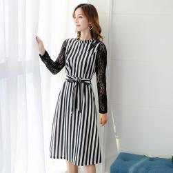 Ukawaii韓国ファッションストライプ柄切り替えレース長袖ワンピース