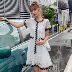 Ukawaii無地Aラインスウィートファッションエレガントレース切り替えワンピース