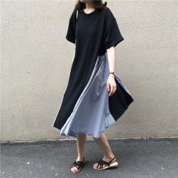 Ukawaii若見え体型カバー配色半袖薄手森ガールワンピース