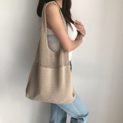 Ukawaiiレディース日系簡約無地透かし彫りニット大容量ハンド肩掛けバッグ