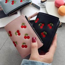Ukawaii簡潔ファッションお手頃価格女性縦型チェリー柄刺繍2つ折トレンド財布バッグ