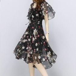 Ukawaii元気いっぱいファッションVネック半袖小柄不規則高品質シフォンワンピース