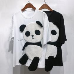 Ukawaii新作ファッションカジュアルパンダ柄半袖ルーズTシャツ