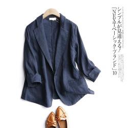 Ukawaii安定感抜群 シンプル ボタン リネン 無地 ショート丈 切り替え 七分袖 折襟 スーツ ジャケット
