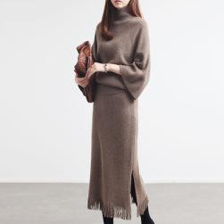 Ukawaii美人度アップ 無地 4色 長袖 ゆったり トップス+ ハイウエスト 着瘦せ スカート 2点セットアップ
