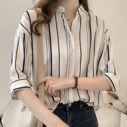 Ukawaii通勤/OL春夏ファッション配色ストライプ柄七分袖シャツ