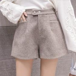 Ukawaii優しい色合い フェミニン ボタン Aライン ラシャ ショートパンツ