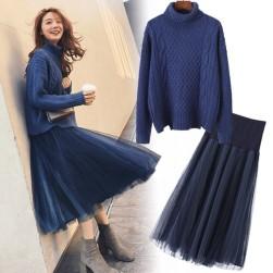 Ukawaii最愛の一着 ハイネック 無地 セーター+チュール スカート 2点セットアップ