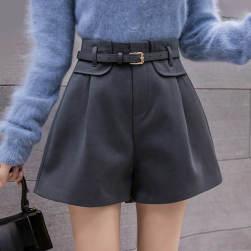 Ukawaii新作ファッション ハイウエスト Aライン ルーズ 3色 ラシャ ショートパンツ