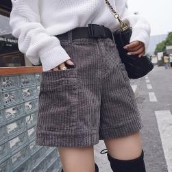 Ukawaii韓国 ファッション 無地 コーデュロイ ポケット ショートパンツ