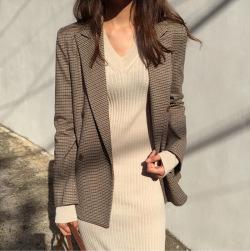 Ukawaiiセレブ気質 ファッション 通勤 チェック柄 長袖 折り襟 スーツ