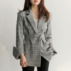 Ukawaii大人の定番 長袖 通勤/OL 折襟 チェック柄 スーツ