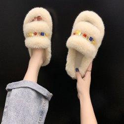 Ukawaii激売れ中 韓国 ファッション リベット 室内外スリッパ 無地 ふわふわ フラットシューズ