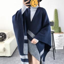 Ukawaii激安 配色 厚手 レディース ファッションケープ