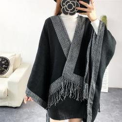 Ukawaii厚手 フリンジ 暖かい 配色 レディース ファッション ケープ