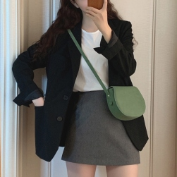 Ukawaii気質アップ 簡約 無地 カジュアル 折り襟 長袖 スーツ