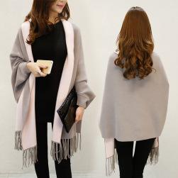 Ukawaii最愛の一着 配色 シンプル ファッション ドルマンスリーブ 穗状 ケープ