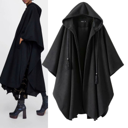 Ukawaii不規則 ファッション ゆるリラックス 個性派 アバンギャルド フード付きケープ