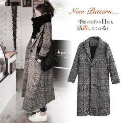 Ukawaii可愛ファッションチェック柄折り襟長袖一シングルブレストコート