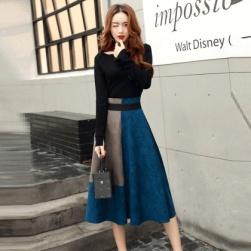 Ukawaii売り切れ必至ファッション切り替え配色長袖トップス+ハイウエストスカートOL/フォーマルセットアップ
