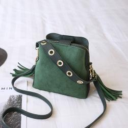 Ukawaii絶対欲しい 4色 デザイン感 ヌバック フリンジ ファスナー レディース ショルダーバッグ