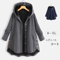 Ukawaiiレディースファッション無地シングルブレストフート付きコート
