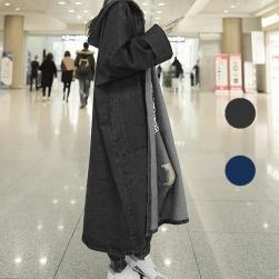 Ukawaiiおしゃれ 長袖フード付きファッションカーディガントレンチコート