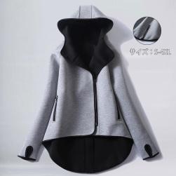 Ukawaii韓国の人気爆発 当季人気新作 無地 長袖 切り替え フード付き ジャケット