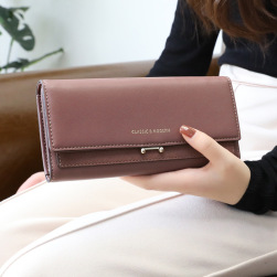 Ukawaii大人の定番 シンプル 大容量4 色 ホック PU ロング丈 財布