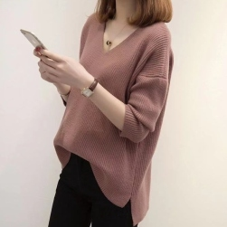 Ukawaii楽で暖かく Vネック スリット ゆったり 着瘦せ 無地 長袖 M~3XL ニット セーター