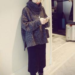 Ukawaii人気上昇中 カジュアル 秋冬 ハイネック 無地 スリット セーター+すね丈 スカート 2点セットアップ