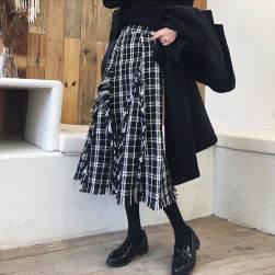 Ukawaii大人らしい オシャレ 韓国 ハイウエスト ロング Aライン チェック柄 穗状 スカート