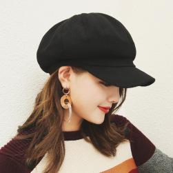 Ukawaii秋冬無地ラシャ切り替えスエードペレー帽