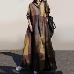 Ukawaii高級感 レトロ 折り襟 配色 チェック柄 Aライン ロングワンピース