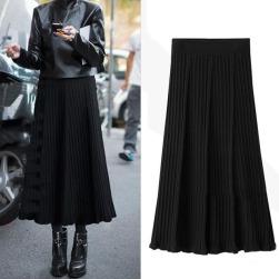 Ukawaii合わせやすい プラスサイズ 無地 Aライン プリーツ ニット スカート