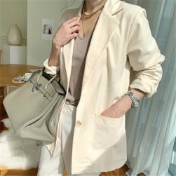 Ukawaii簡約 合わせやすい 無地 折り襟 長袖 リネン レディーススーツ