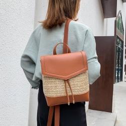 Ukawaiiキャンパス デザイン感 切り替え 2色 草編み+PU リュックサック