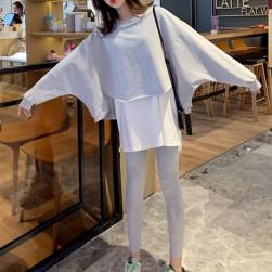 Ukawaiiファッション ゆったり 合わせやすい 着痩せ パーカー+カジュアル スリムパンツ 2点セットアップ