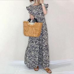 Ukawaii美エレガント フェミニン プリント ギャザー飾り 切り替え 半袖 Aライン ロングワンピース