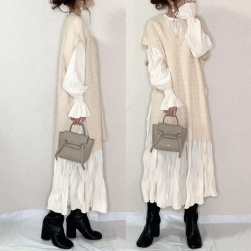 UkawaiiNO.1NO.1人気 海外トレンド セーターなし ファッション フリルスリーブ ギャザー飾り 長袖 デートワンピース