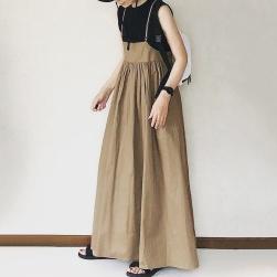 Ukawaii絶対流行 ファッション サロペットスカート 無地 Aライン ギャザー飾り キャミソールワンピース
