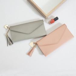 【お一人様 一点限り】Ukawaii安価シンプル無地フリンジファスナー財布